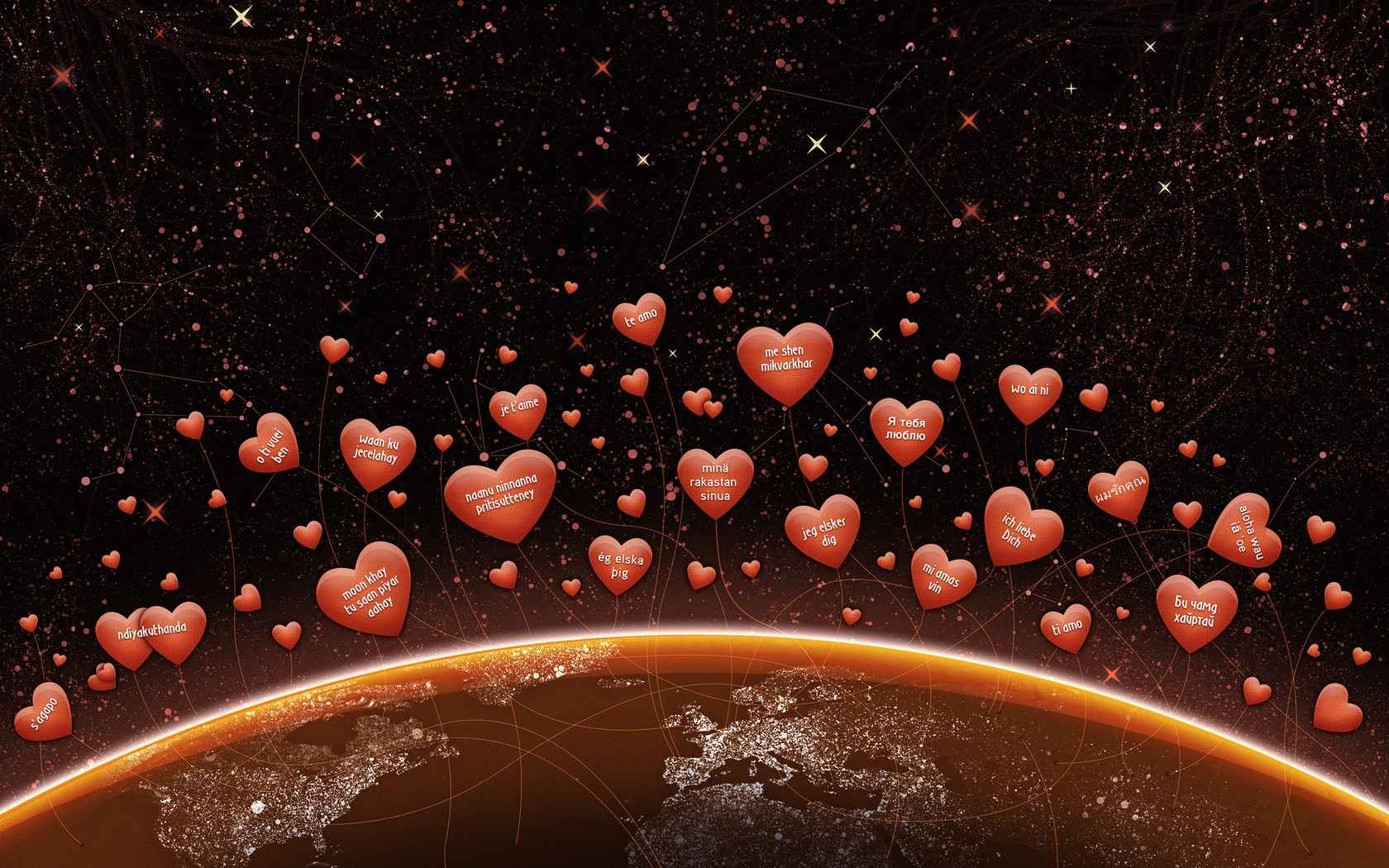 Hearth Love Vector Wallpaper 001